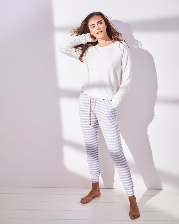 Grey Stripe Lounge Pant & Cloud Sweatshirt Set