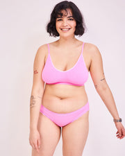 Vest, T-Shirt Bra & Knicker Set - Hot Pink