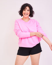 Black Bedshorts & Hot Pink Sweatshirt Set