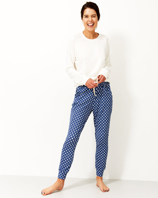 Navy Polka Dot Lounge Pant & Cloud Sweatshirt Set