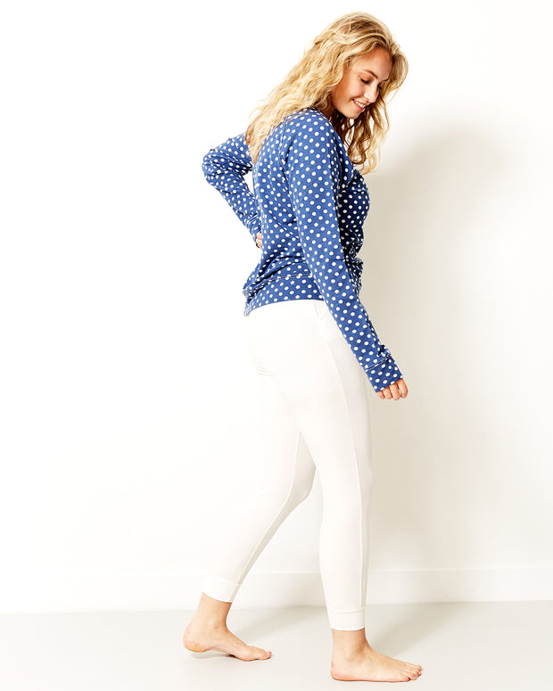 Sweatshirt - Navy Polka Dot