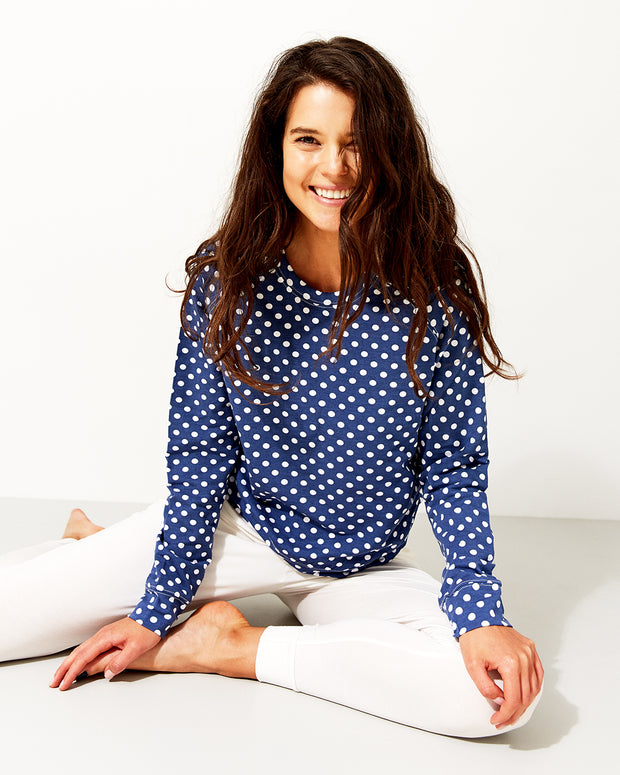 Cloud Lounge Pant & Navy Polka Dot Sweatshirt Set
