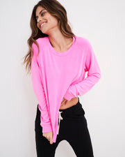 Black Lounge Pant & Hot Pink Sweatshirt Set