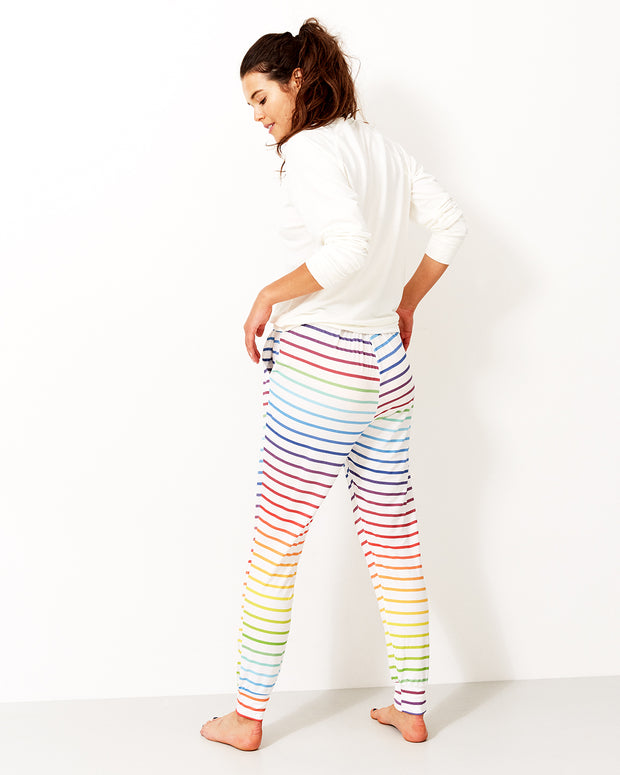 Rainbow Stripe Lounge Pant & Cloud Sweatshirt Set