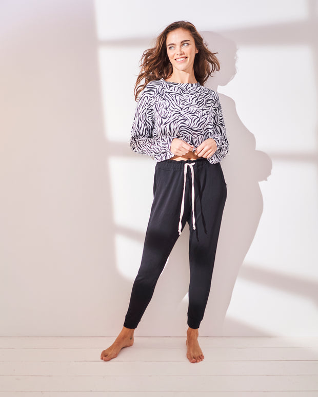 Black Lounge Pant & Safari Sweatshirt Set