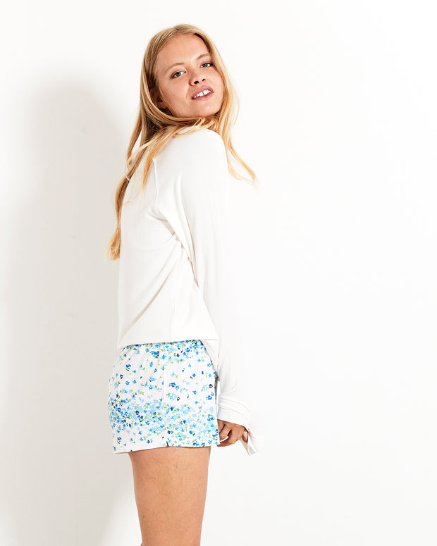 Periwinkle Bedshorts & Cloud Sweatshirt Set