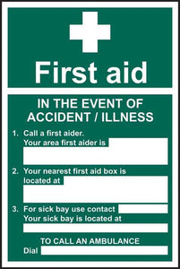 First aid In the event of an accident - SAV/RPVC  200 x 300mm