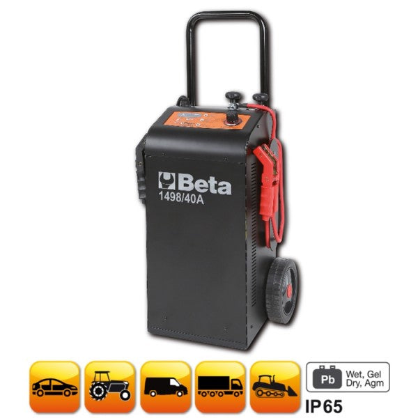 Beta 1498/40A Multipurpose battery charger /starter, 12-24V wheeled