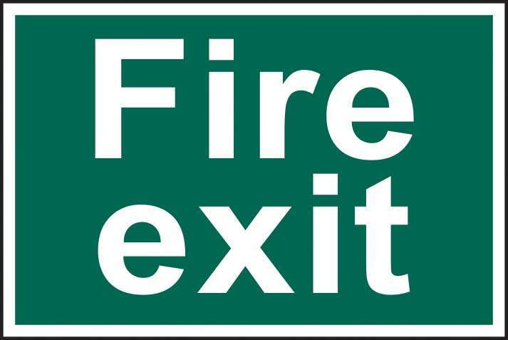 Fire exit - text only - PVC 300 x 200mm 1502