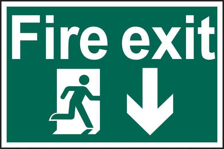 Fire exit running man arrow down - PVC / RPVC
