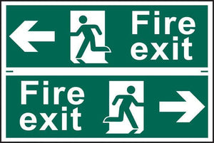Fire exit man running arrow left/right - PVC 300 x 200mm 1509