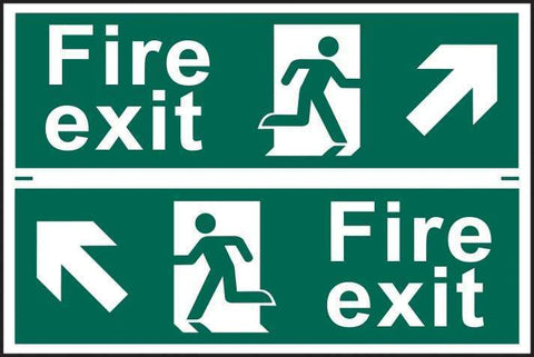 Fire exit man running arrow diagonally up left/right - PVC 300 x 200mm 1510