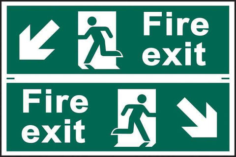 Fire exit man running arrow diagonally down left/right - PVC 300 x 200mm 1511