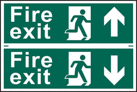 Fire exit man running arrow up/down - PVC  300 x 200mm 1512