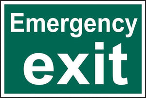Emergency exit text only - PVC 300 x 200mm 1516