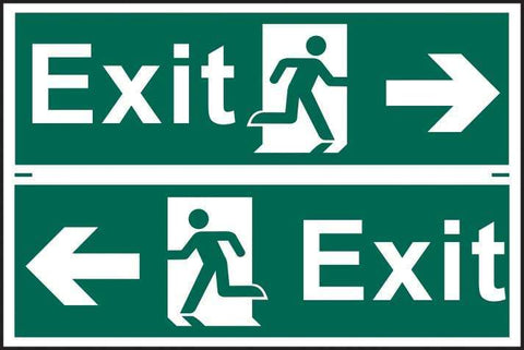 Exit man running arrow left/right - PVC 300 x 200mm 1517