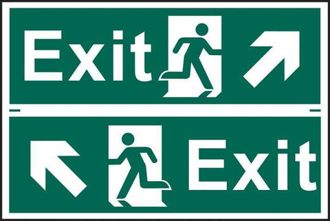 Exit man running arrow diagonally up left/right - PVC 300 x 200mm 1518