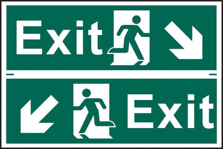 Exit man running arrow diagonally down left/right - PVC 300 x 200mm 1519