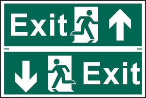 Exit man running arrow up/down - PVC 300 x 200mm 1520
