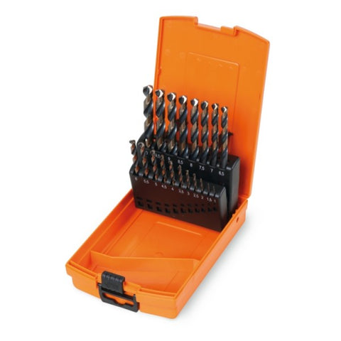 Beta 412M/SP19 Set of 19 twist drills with cylindrical shanks, HSS, AISI M2, entirely ground finishing