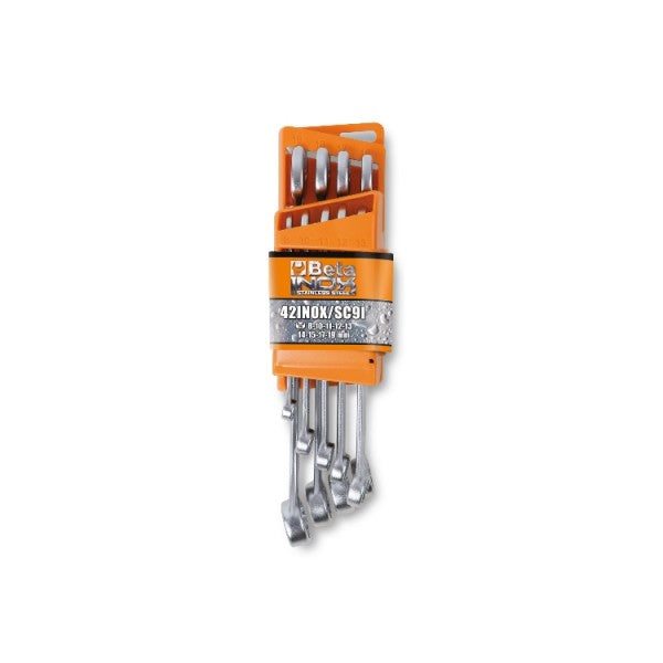 Beta 42INOX/SC9 Combination wrenches, open and offset ring ends, made of stainless steel