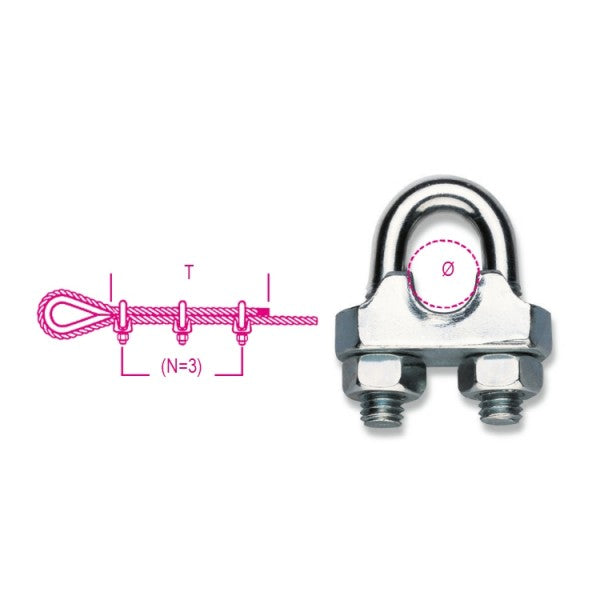 Robur Beta 8016FR Wire rope clips, cold pressed steel body, galvanized