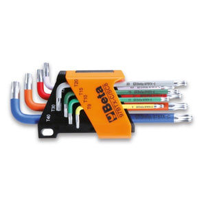 Beta 97BTX-C/SC8 Set of 8 coloured ball head offset key wrenches, for Torx® head screws