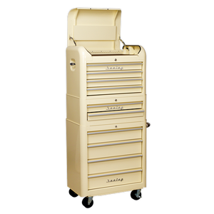 Sealey Retro Style Topchest, Mid-Box & Rollcab Combination 10 Drawer Cream AP28COMBO2