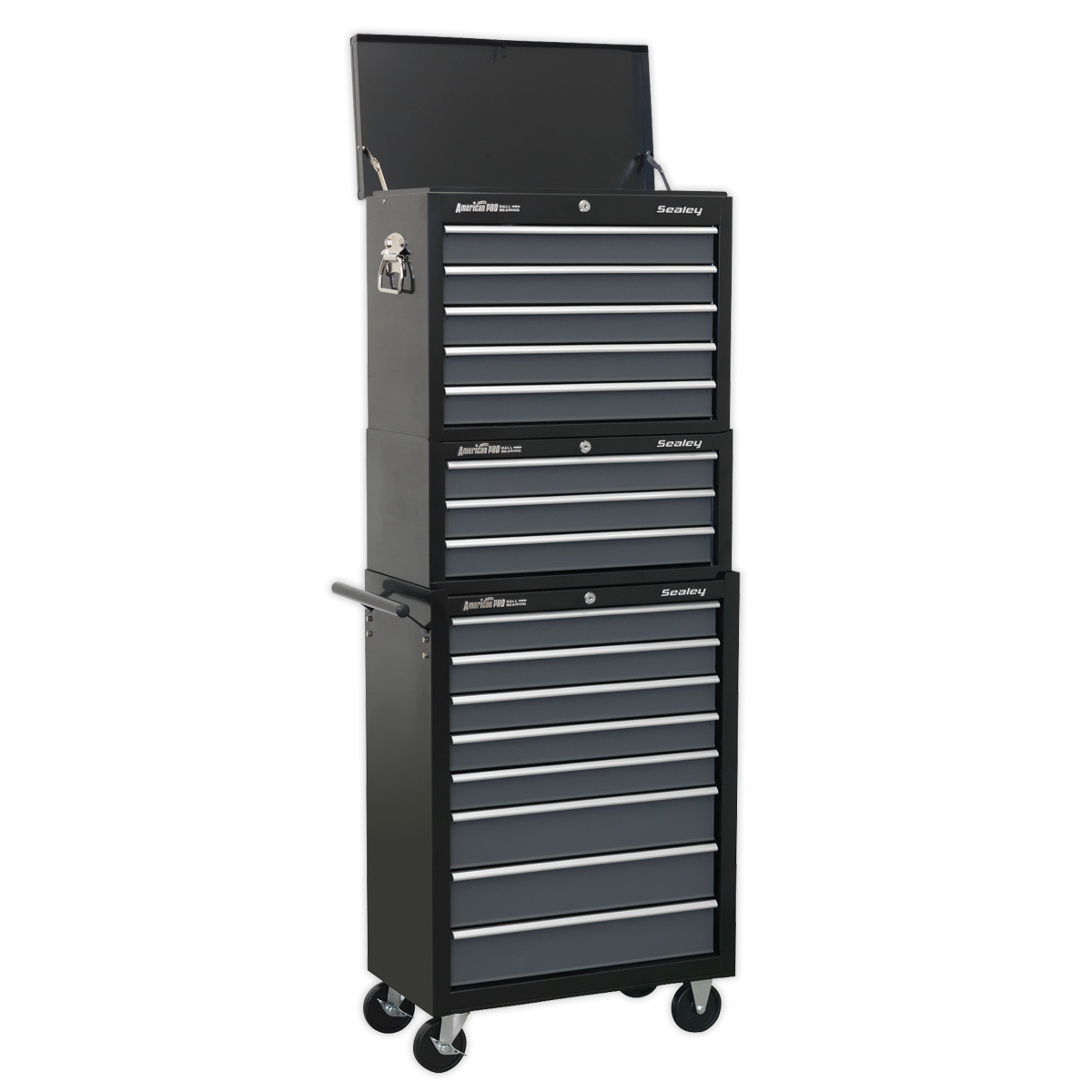 Sealey Tool Chest Combination 16 Drawer with Ball Bearing Slides - Black/Grey AP35STACK