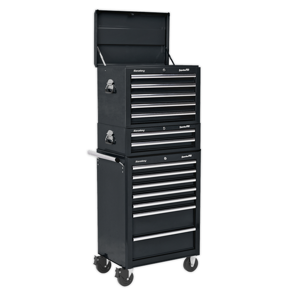 Sealey Topchest, Mid-Box & Rollcab Combination 14 Drawer with Ball Bearing Slides APSTACK