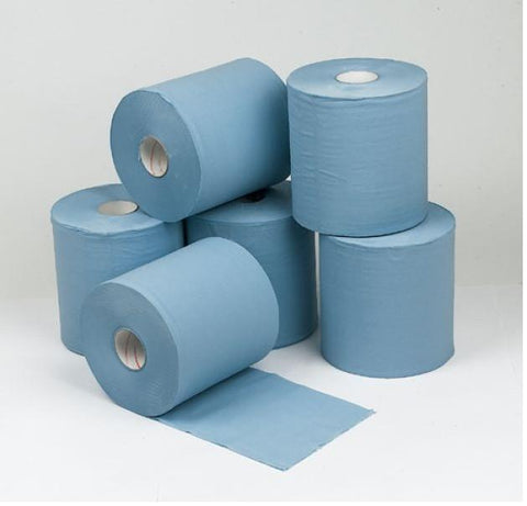 2 Ply Blue Centrefeed Flatsheet packed 6 rolls
