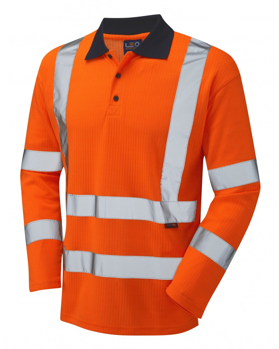 SWIMBRIDGE ISO 20471 Class 3 Comfort Sleeved Polo Shirt Orange P05-O