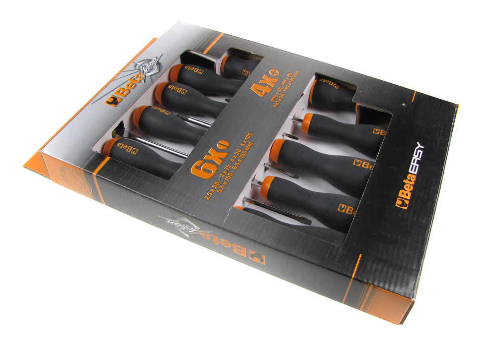 Beta Tools 1263/D10 Set of 10 BetaEasy Slotted Head and Cross Head Screwdrivers