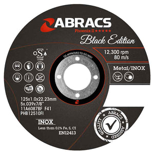 ABRACS Cutting Disc Black Edition 115mm x 1.0mm x 22mm, Pack 25