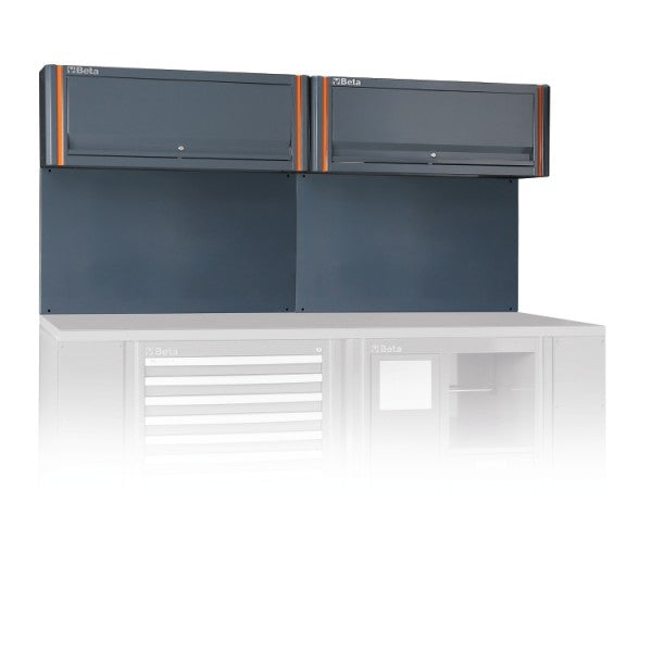 Beta C55/2PM Tool wall system with 2 suspended cabinets, for workshop equipment combination