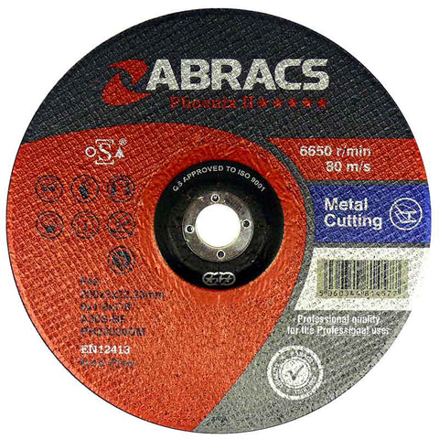 ABRACS CUTTING DISCS PHOENIX II 115mm x 3.0mm x 22mm PH11530DM