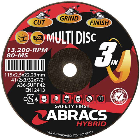 ABRACS HYBRID 3in1 115 x 2.5 x 22mm DPC Metal HY11525DM
