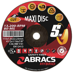ABRACS HYBRID 5in1 115 x 1.6 x 22mm Flat Metal HY11516FM
