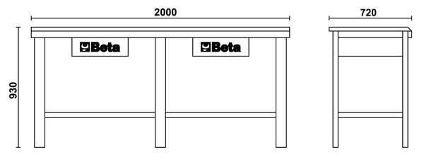 Beta Workbenches C56W Workbench with wood top