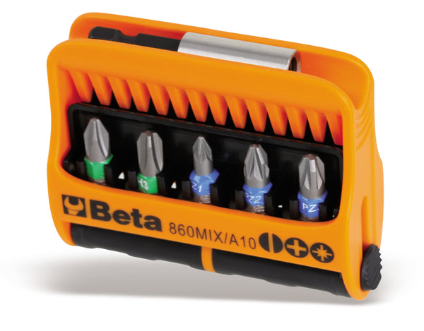 Beta Tools 860MIX/A10 set of 10 bits with magnetic bit holder in plastic
