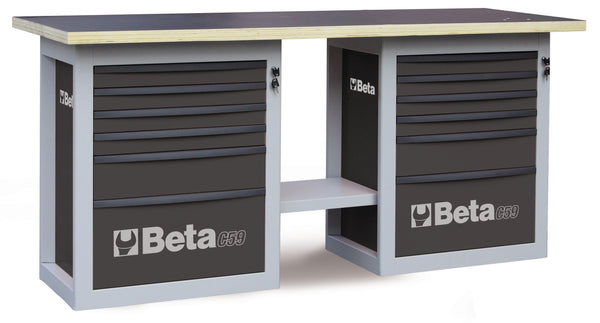"Beta Workbenches C59B - 5900B Endurance"" workbench with 2 cabs with six drawers"