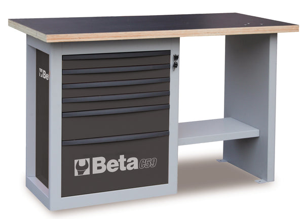"Beta Workbenches C59C ""Endurance"" workbench with 1 cab with six drawers, short model"