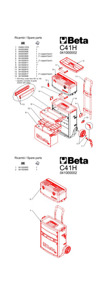 Beta toolboxes C41H two-module tool trolley