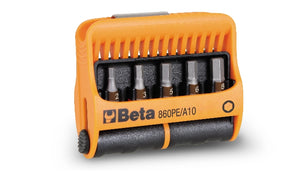 Beta Tools 860PE/A10 set of 10 bits with magnetic bit holder in plastic case