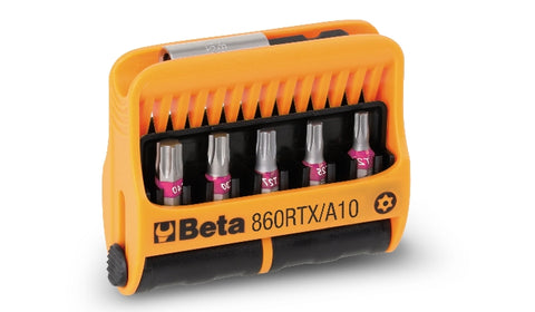 860RTX/A10 set of 10 bits with magnetic bit holder in plastic case