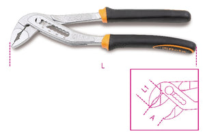Beta Tools 1048BM Slip joint pliers, boxed joint, bimaterial handles