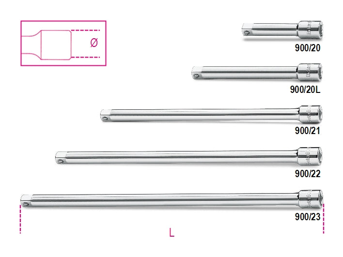 "Beta Tools 900/ -  1/4"" female and male drive extension bars"