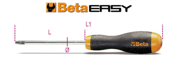 Beta Tools 1208RTX/D7  set of 7 screwdrivers for Tamper Resistant Torx® head screws,