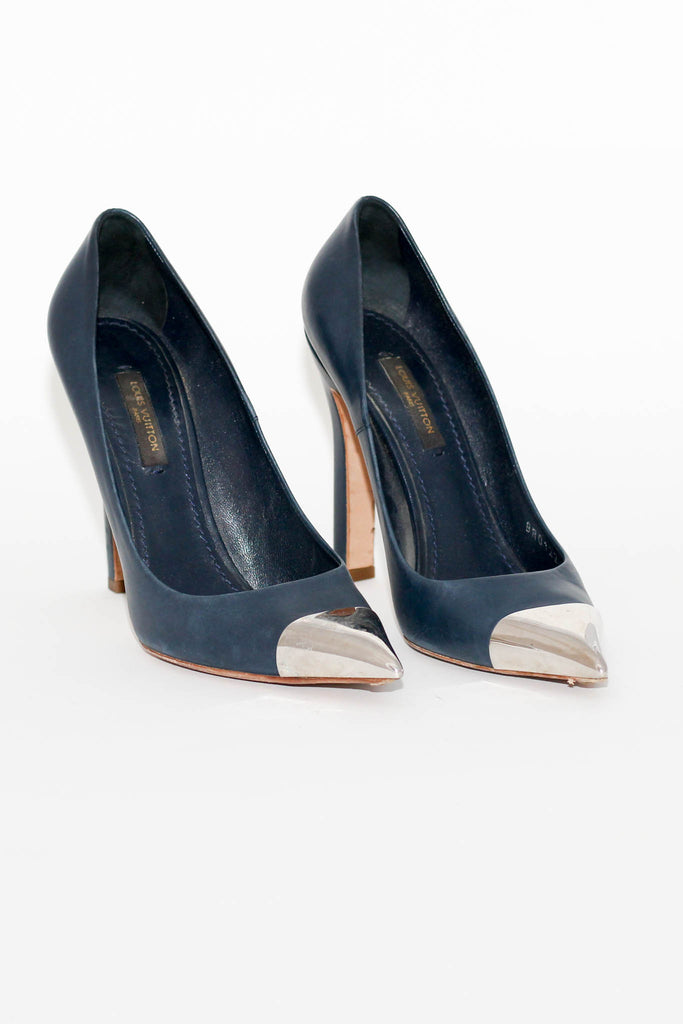 Navy Leather Heel with Silver Tone Cap on Toe