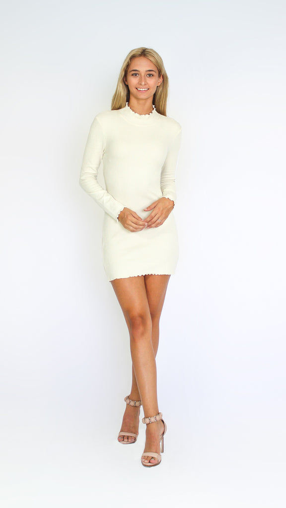 Full Sleeve Turtle Neck Mini Dress With Ruffle Hemming